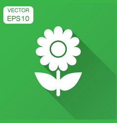 Chamomile flower icon in flat style daisy vector