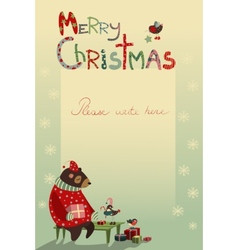 Christmas greeting card with bear and birds vector image