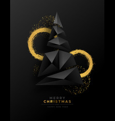christmas new year abstract 3d low poly tree card vector image