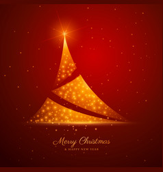 christmas tree design with golden sparkles on red vector image