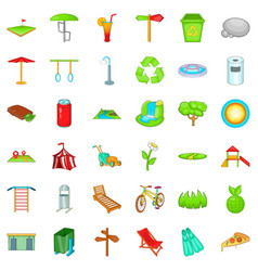 City park icons set cartoon style vector