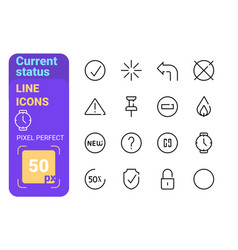 Collection current status line icons vector