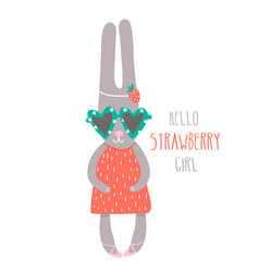 Cute girl rabbit hand drawn vector