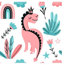 cute pink dino princess seamless pattern vector image