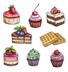 Dessert cakes cupcakes isolated sketch vector