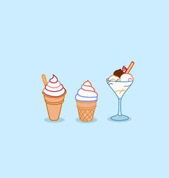 different ice cream sundae sweet dessert food vector image