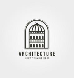 Dome building architecture logo line art minimal vector