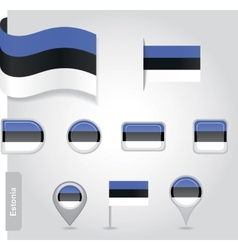 Estonian flag icon vector image