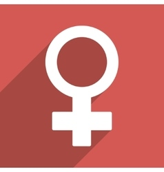 Female Symbol Flat Long Shadow Square Icon vector image