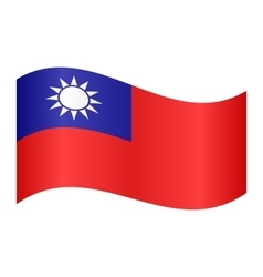 Flag of Taiwan waving on white background vector image