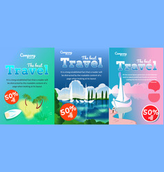 flyers with boats vector image