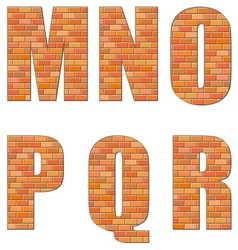 font build out of red bricks vector image