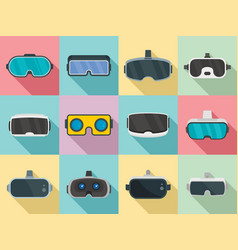 game goggles icons set flat style vector image