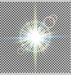 glow light effect starburst with sparkles on vector image