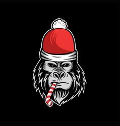 gorilla merry christmas candy vector image