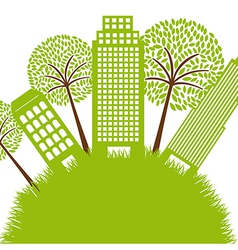 green buildings vector image