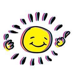 Happy hand drawn sun colorful vector