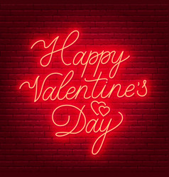 happy valentine s day neon lettering sign vector image