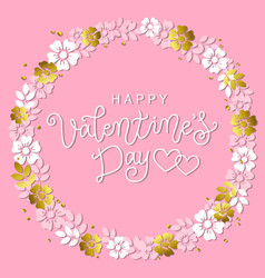 happy valentines day in wreath of flowers vector image