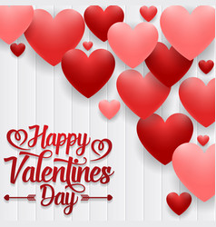 happy valentines day on wood background vector image
