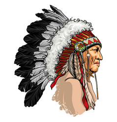 headdress with feathers indian chief tribe vector image