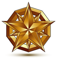 Heraldic template with five-pointed golden star vector