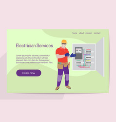 home improvement electrician services concept man vector image