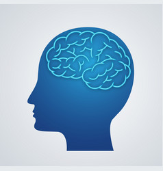 Human body brain icon silhouette on blue vector