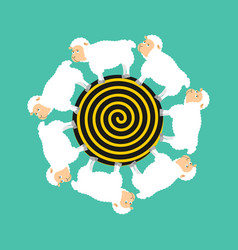 hypnotic sheep for sleep hypno farm animal vector image