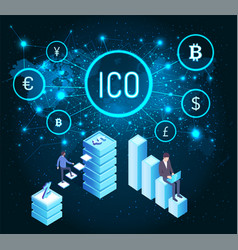 icon bitcoin and world map with currency vector image