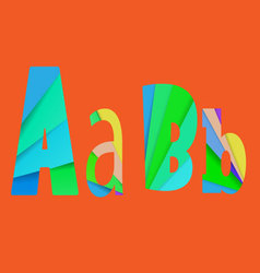 inner shadow font AB Alphabet design full color vector image
