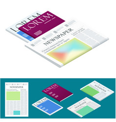 isometric blank newspaper and magazines business vector image