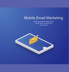 isometric phone email mobile marketing isometric vector image
