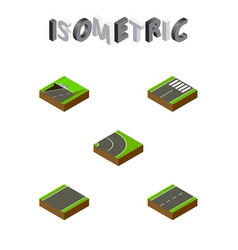 Isometric road set of unilateral footer driveway vector