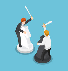 isometric two businessmen riding horse chess and vector image
