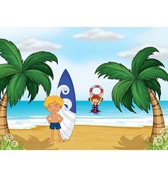 Kids enjoying summer at beach vector