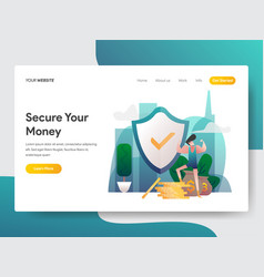 landing page template money security concept vector image