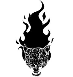 leopard head silhouette with flames vector image
