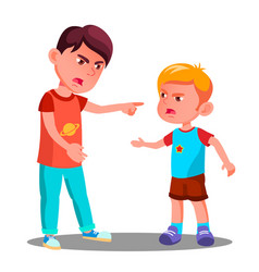 Little children in conflict in the playground vector