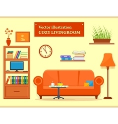 living room interior with sofa and furniture vector image