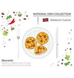 maldivian cuisine asian national dish collection vector image