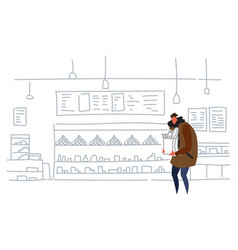 man holding craft paper bag buying products in vector image