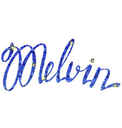 Melvin name lettering tinsels vector