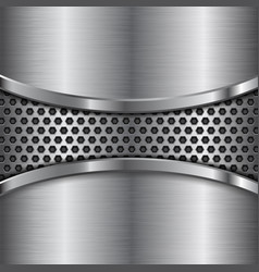 Metal brushed background with perforated center vector