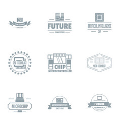 microcircuit chip logo set simple style vector image