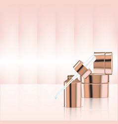 mock up realistic rose gold pastel cosmetic produc vector image