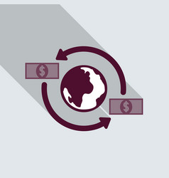 money transfer icon around the globe money vector image
