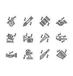 Music wind instruments black line icons set vector