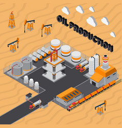 Oil production isometric composition vector