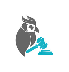 Owl hammer law logo design template isolated vector